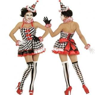 Exclusives Clown Pierrot Harlekin Zirkus Kleid Damen S 34/36 Mädchen Kostüm