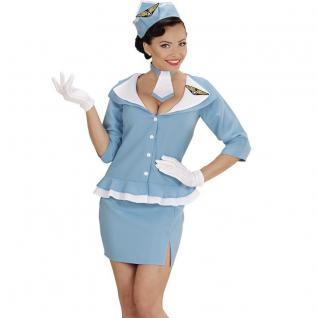 Retro STEWARDESS Gr. XL 46/48 Flugbegleiterin Damen Kostüm Party Karneval 0663