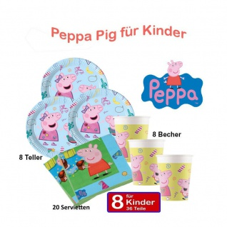 Peppa Pig Wutz 36 tlg Set Kinder Geburtstag Teller Becher, Servietten Peppa Pig