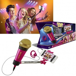 IMC SELFIE MIC Selfie-Stick - Pink - mit Mikrofon Kopfhörer Karaoke +8J