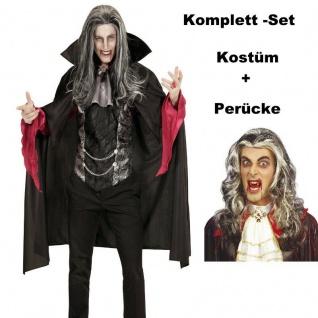 Vampir 54 (XL) Graf Dracula mit Perücke - Herren Kostüm Karneval Fasching