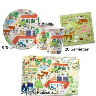 BAUERNHOF 42 tlg. Set Kinder Geburtstag Teller Becher Servietten Platzsets - DHK
