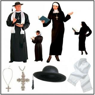 Nonne Priester Pfarrer -PREISHIT- Partner Kostüm für Damen Herren Oberin Pater