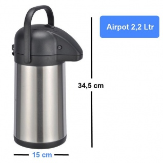 2, 2 L AIRPOT Edelstahl Thermokanne Pumpkanne Isolierkanne rostfrei doppelwandig