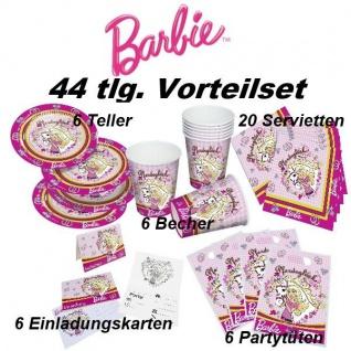 44 tlg. Vorteil-Set BARBIE Pferdeglück Kinder Geburtstag Party Deko Teller Beche