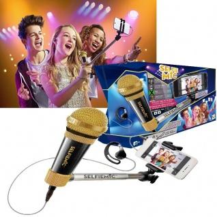 IMC SELFIE MIC Selfie-Stick - Black - mit Mikrofon Kopfhörer Karaoke +8J
