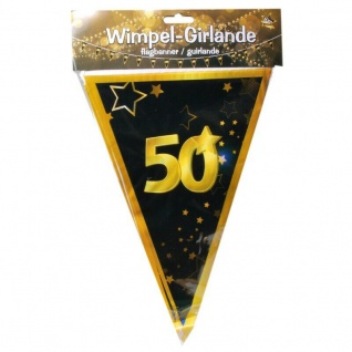 "10 m Wimpel-Girlande "" 50"" Geburtstag Wimpelkette schwarz/gold Party Deko #3086"