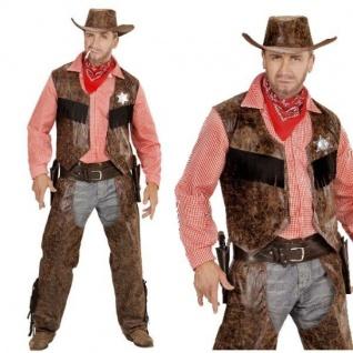 Cowboy Herren Western Kostüm Gr. 54/56 (XL) - Weste mit Hemd + Chaps + Hut #592