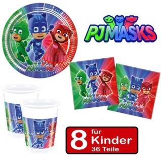 PJ MASKS Party Set Kinder Geburtstag - Teller Becher Servietten - für 8 Kinder