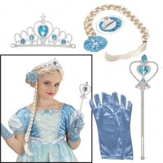 4 tlg. Set Prinzessin Kinder Kostüm Zubehör Eisprinzessin Mädchen Eiskönigin