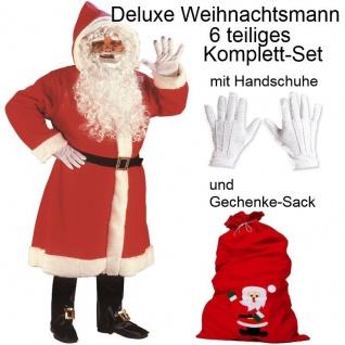 LUXUS NIKOLAUS KOSTÜM -Weihnachtsmann- Komplettset + Handshuhe + Geschenke Sack