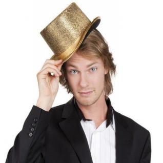 Zylinder Gala Hut Glitzer GOLD Show Outfit Kostüm Zubehör NEU #4176