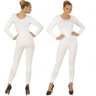 Einteiler Damen Body Overall Jumpsuit lang Sport weiß, Langarm Gr. M/L, XL