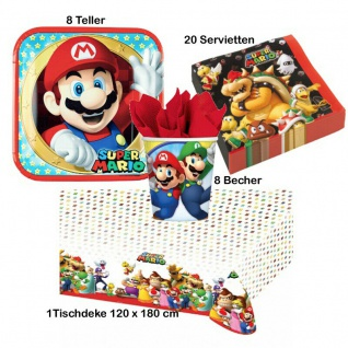 Super Mario 37 tlg. Kinder Party Set - Teller Becher Servietten Tischdecke -