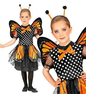 Schmetterling Deluxe Kinder Kostüm - Kleid mit Flügel Antennen - 104 116 128 140
