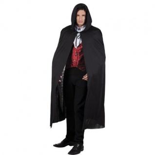 Herren Kostüm Cape Vampir Dracula UMHANG MIT KAPUZE - Halloween Karneval # 6936