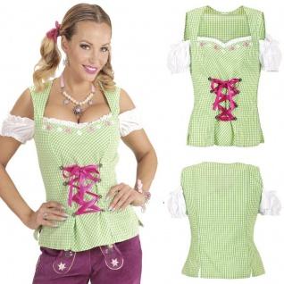 Dirndl Bluse Trachtenbluse grün/weiß XL 46/48 Damen Kostüm Oktoberfest Carmen