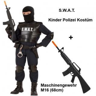 SWAT Agent Kinder Polizei Kostüm + Spielzeug Maschinengewehr M16 Gr. 116 - 164