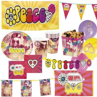 60er Jahre Party Deko HIPPIE PEACE Flower Power Woodstock Set Sixties Motto