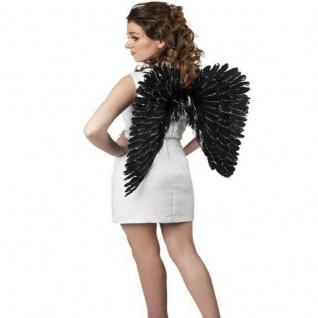WOW FEDER FLÜGEL - SCHWARZ mit SILBERGLITTER - Engelsflügel Engel Kostüm