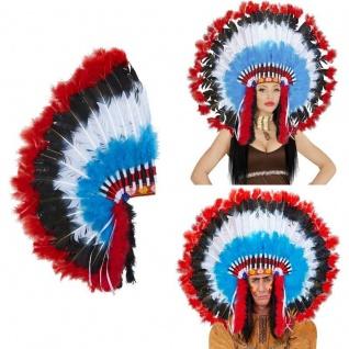 Indianer Kopfschmuck deluxe Häuptling Indianerin Federhaube Kostüm #9289
