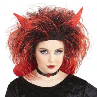 Punk Teufel Perücke Dämon Teufelsperücke rot Rocker Teufelsperücke Halloween