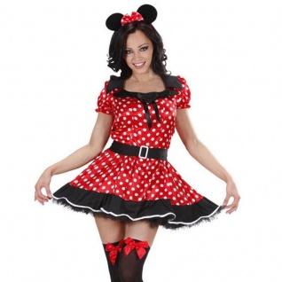 MÄUSCHEN Damen Kostüm Gr. 46/48 (XL) Minnie Mouse Maus Kleid Mäusekostüm #745M