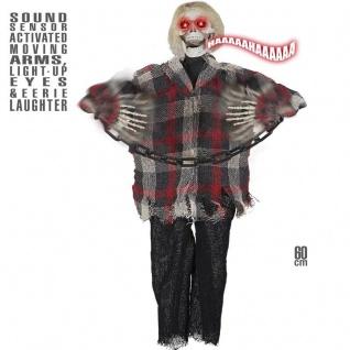SKELETT TOD Vogelscheuche mit Sound und Bewegung Hänge Deko Halloween #4878