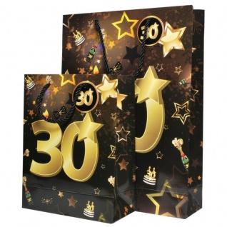 """2 St. Geburtstag Geschenk Taschen Set """" 30"""" Schwarz Gold Tüte Jubiläum Verpackun"""