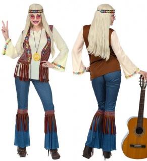 Hippie Love & Piece Damen Kostüm Jeans-Optik Schlaghose 60er 70er Flower Power