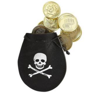PIRATENTASCHE MIT 12 DUBLONEN Piraten Seeräuber Räuber Kostüm Zubehör w0672