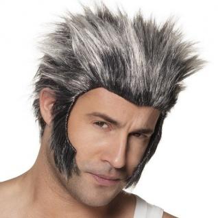 Wolf Werwolf Herren Perücke grau/schwarz - NEU Halloween Karneval Fasching #989