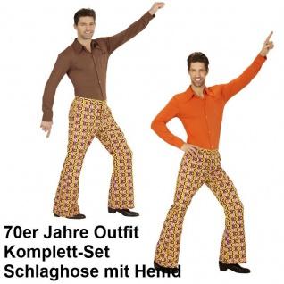 70er Jahre Herren Schlaghose Hemd Kostum Discs Disco Hippie
