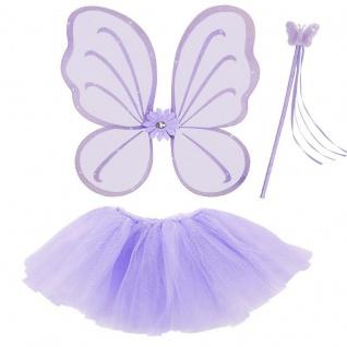 3tlg. Feen Kostüm Set Lila - Tüllrock Flügel Zauberstab - Schmetterling Set