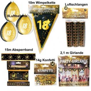 Großes Party Deko Set 18. Geburtstag 18 Jahre Zubehör Gold Jubiläum (Set 2)