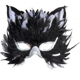 Federmaske Katzenmaske Maske Katze Fasching Kostüm Zubehör Augenmaske #585C