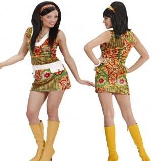60er Jahre Hippie Girl 42/44 (L) Damen Kostüm Disco Minikleid Karneval #3333