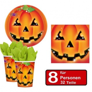 32 tlg. Halloween Party Set - KÜRBIS - Teller Becher Servietten - für 8 Personen