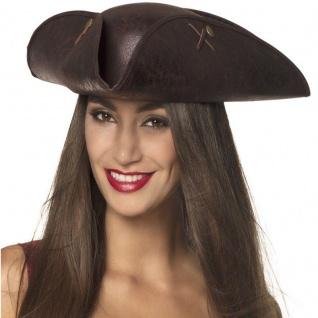 Piraten Dreispitz Hut Leder Imitation Seeräuber Damen Hut Kostüm Zubehör #1940