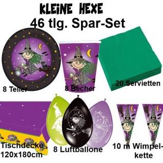KLEINE HEXE 53 tlg. Spar-Set Kinder Geburtstag Halloween - Teller Becher Wimpel