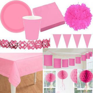 Party Deko - Alles in der Farbe ROSA/PINK Laterne Fächer Girlande Pompom Teller