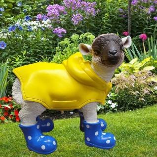 Figur Lamm mit blauen Gummistiefeln + Regenmantel Schaf Tier Garten Deko #3355