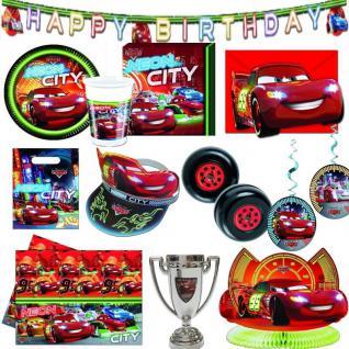 CARS NEON CITY - Alles zur Kinder Geburtstag Party -Teller Becher Einladungen