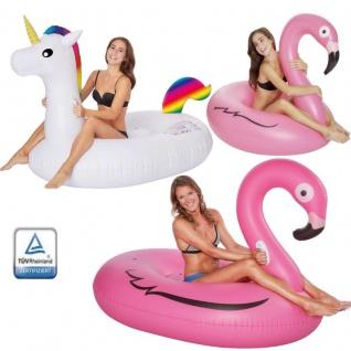 XXL Badeinsel Schwimmring Einhorn / Flamingo Aufblastier Wasserspielzeug