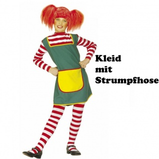Starkes Mädchen KLEID MITSTRUMPFHOSE Gr. 122-128 Kinder Kostüm Langstrumpf #3607