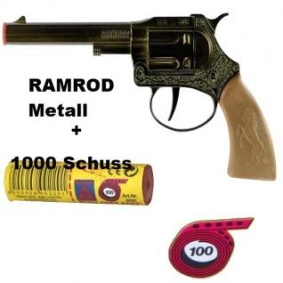 RAMROD Western Metall Knall-Pistole mit 1000 Schuß Kinder Spielzeug Revolver
