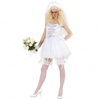 Zombie Braut mit Schleier Halloween Kostüm Horor Hochzeit 36 38 40 42 44 46 48