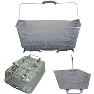 stabiler FAHRRADKORB Gepäckträgerkorb Korb für Schultasche / Einkauf -silber-