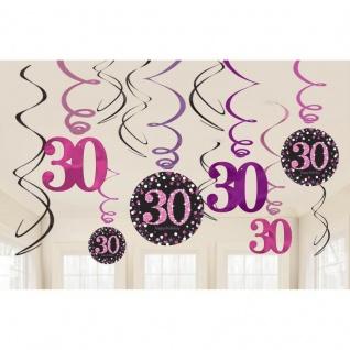 30. Geburtstag Party 12 Swirl Girlanden Glamour Pink Schwarz Raum Deko #0597