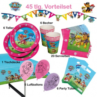 45 tlg.Party Set Girls PAW PATROL Kinder Geburtstag Hunde-Polizei Party Deko Tip